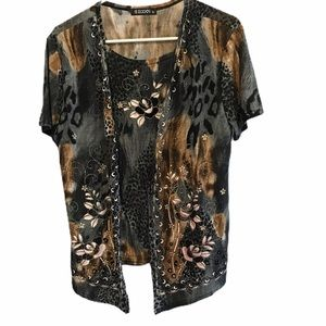 Tops - Animal print blouse with cardigan extra large
